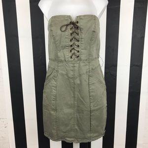 5 for $25 Guess Olive Lace Up Strapless Dress